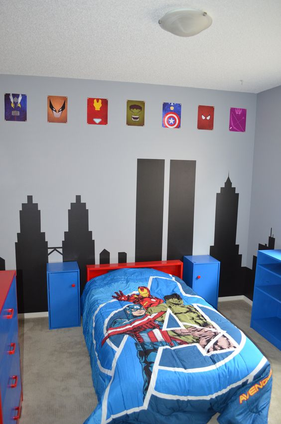 Habitaciones modernas de superheroes