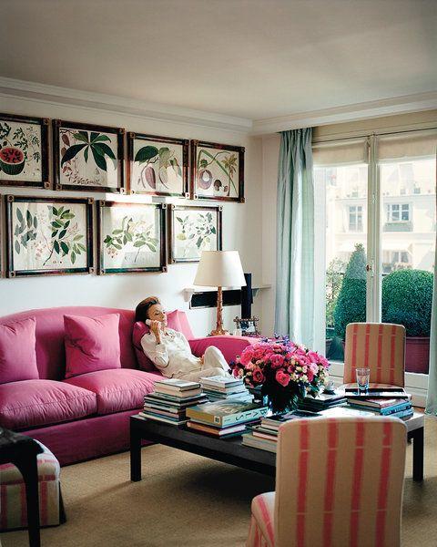 Sofás rosas de estilo vintage