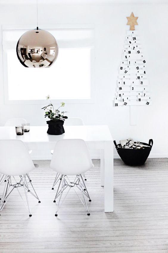 Decoración de navidad estilo nórdico blanco y negro