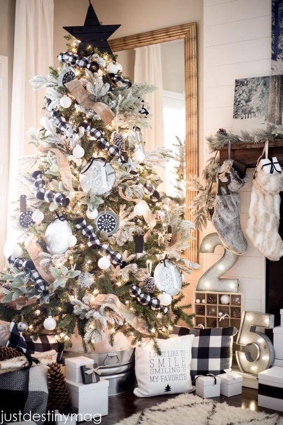 Decoración de arboles de navidad blanco y negro con números