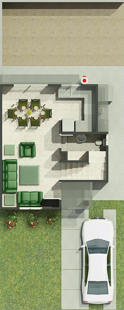 Diseño, decoración y planos de una casa de 72 metros cuadrados que lo tiene todo