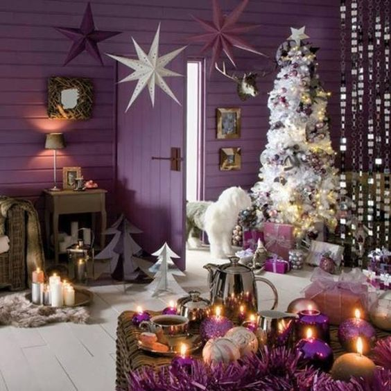 Decoracion de Navidad con Color Morado