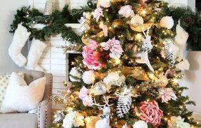 Decoracion de Navidad con Flores… Una nueva alternativa para decorar los Pinos Navideños