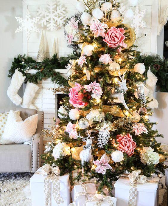 Decoración de Navidad con Flores… Una nueva alternativa para decorar los Pinos Navideños