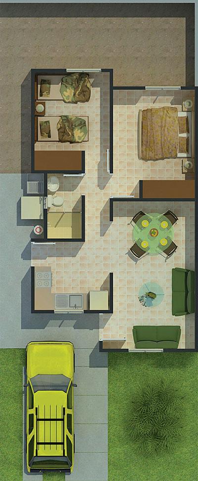 Planos de casa de 52 metros cuadrados