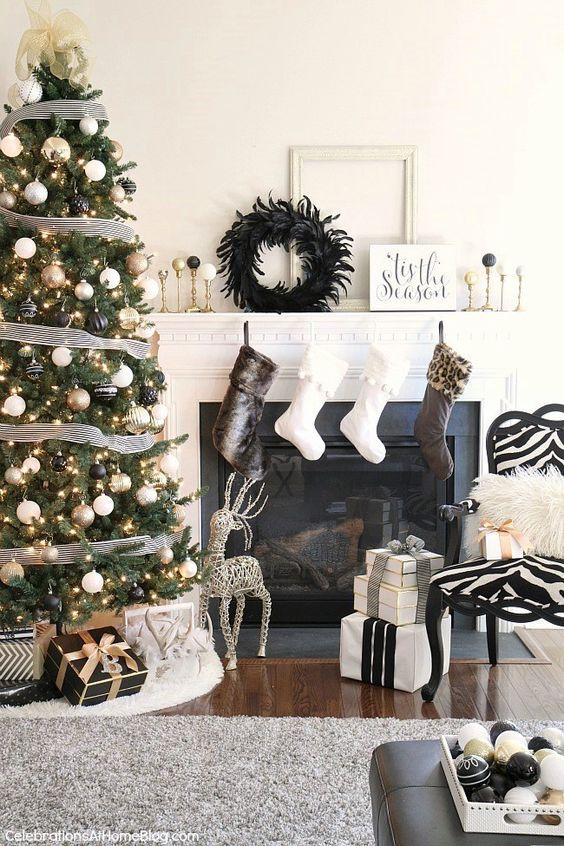 Decoración de navidad negro y dorado con detalles deanimal Print