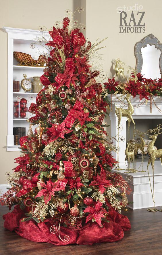 decoracion navidena 2017 rojo con dorado 22 decoracion