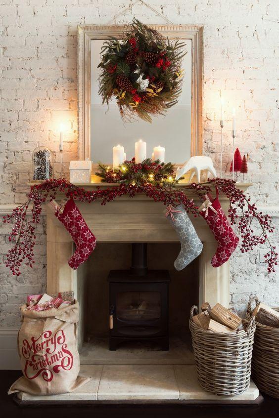 Ideas para decorar chimeneas esta navidad 2017 - 2018 (2)