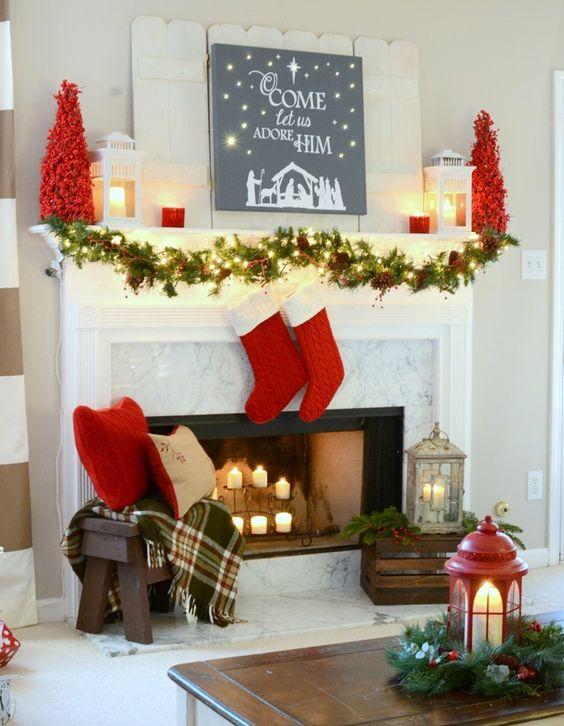 ideas para decorar chimeneas esta navidad 2017 2018 20 curso de decoracion de interiores. Black Bedroom Furniture Sets. Home Design Ideas