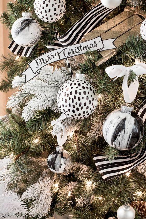 decoracion navidena en blanco y negro (1)