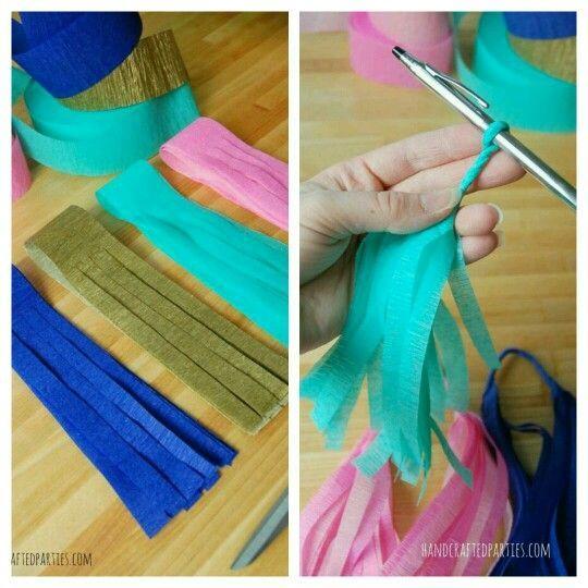 como hacer guirnaldas de papel china