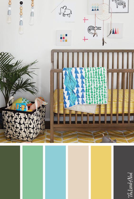 Paletas de colores para habitación de bebe
