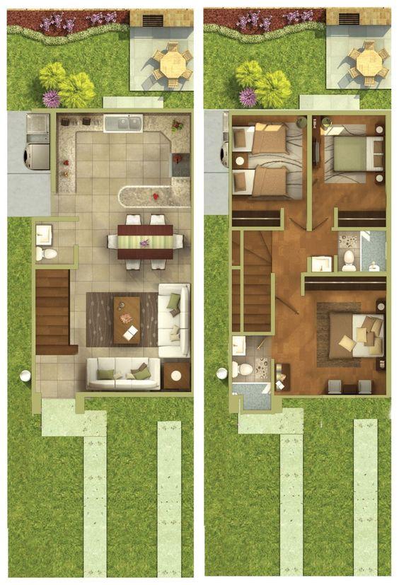 Planos de casas de dos pisos para terrenos de 86 m2 for Casa moderna 64