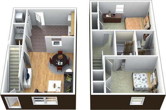 Planos de casas de dos pisos para terrenos de 86 m2 - Casas de dos plantas sencillas ...