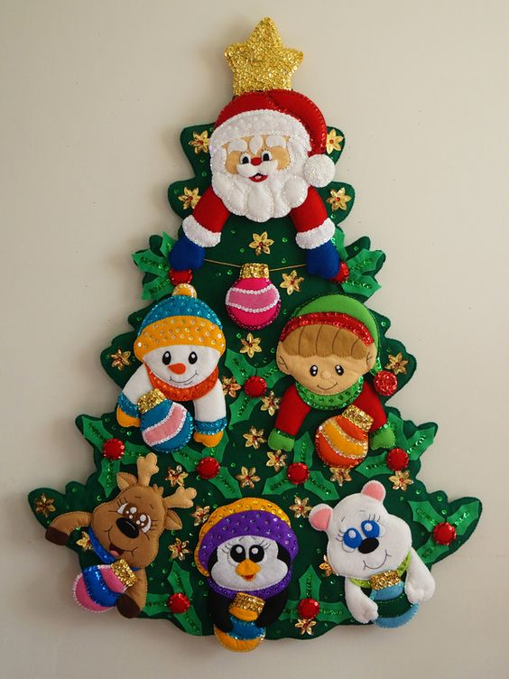 adornos navideños de fieltro