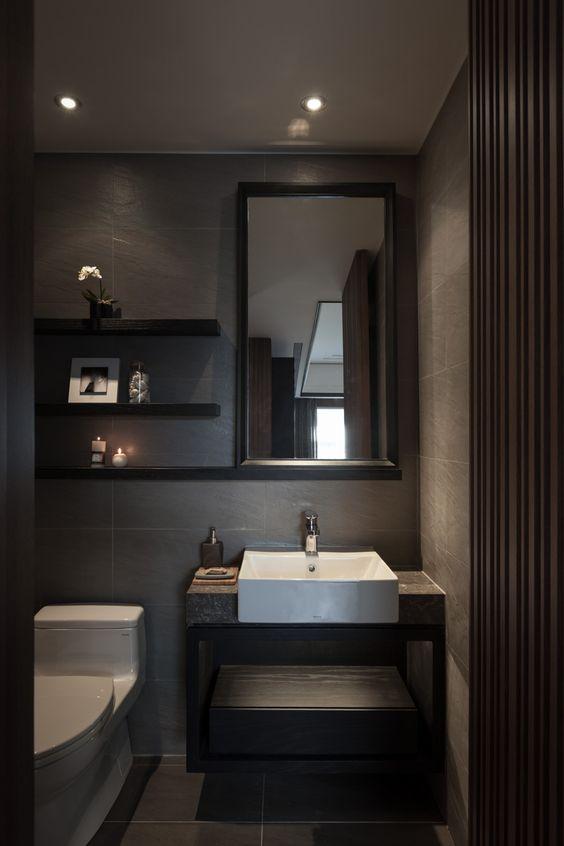 decoracion de un medio baño moderno