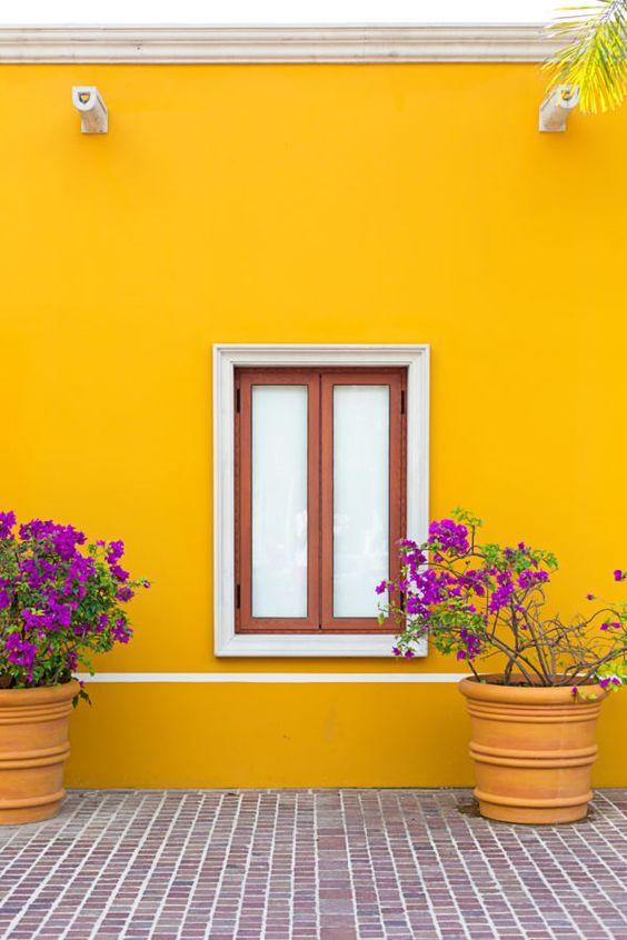 Exteriores de casas color amarillo