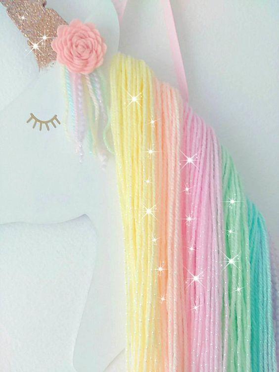 Accesorios decorativos para habitación de unicornio