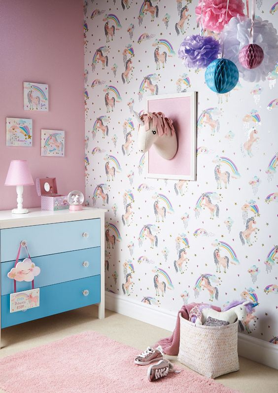 Ideas para decorar las paredes con tema de unicornio