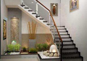 jardines interiores con piedras